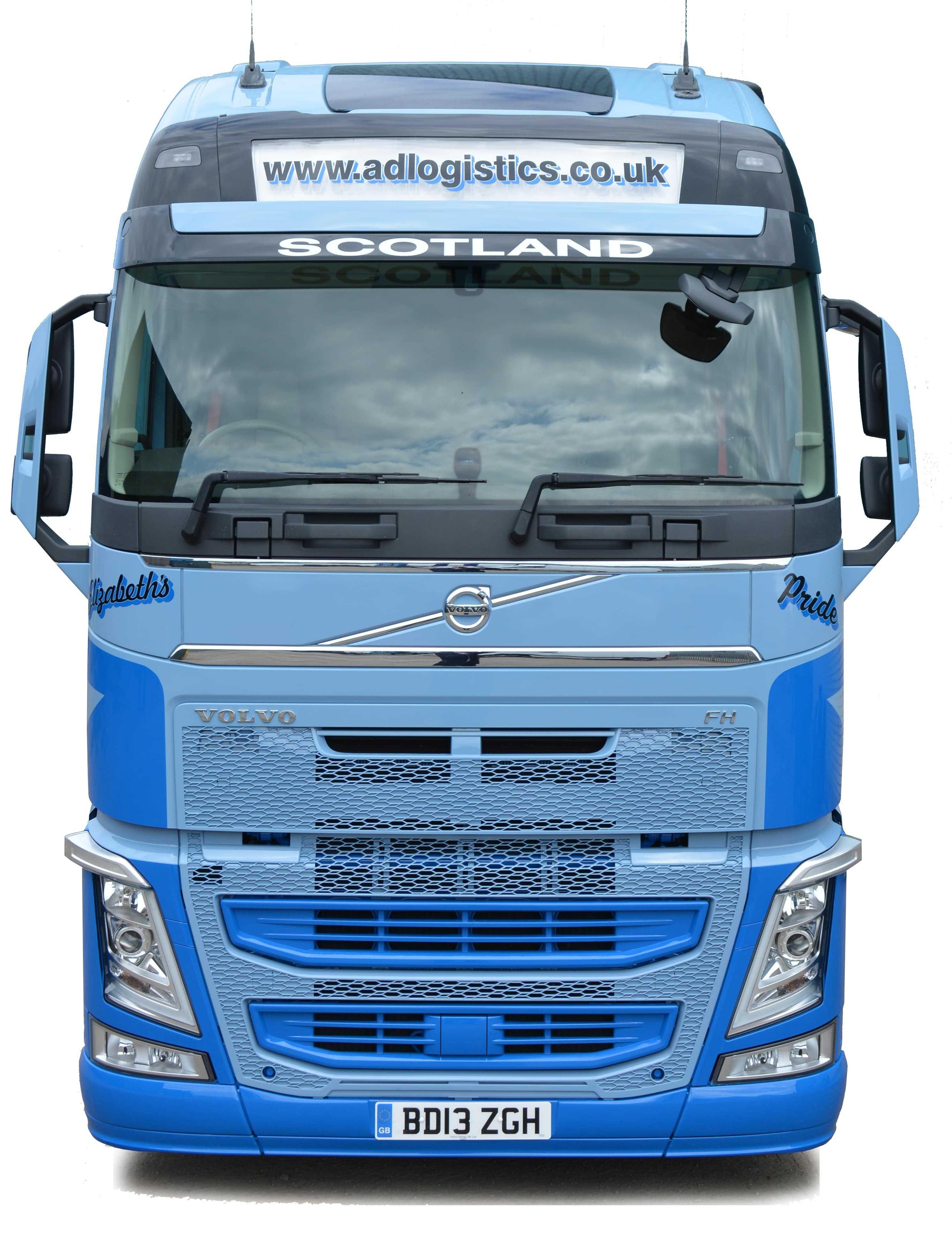 front of a&d logistics trailer head